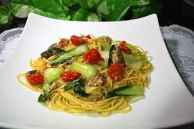 青梗菜とオイルサーディンのパスタ