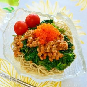 モロヘイヤと納豆とびっこ蕎麦