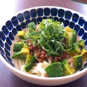 食事のメインになる納豆料理・レシピ③「アボカド納豆うどん」