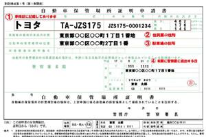 車、バイクの登録、車庫証明