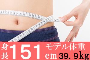 身長151cmの女子のモデル体重39.9kg、美容体重は43.3kg、標準体重52kg
