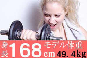 身長168mの女子のモデル体重49.4g、美容体重は53.6kg、標準体重64.4kg