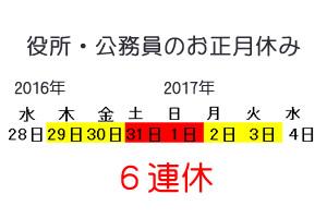 2017年、市役所や公務員のお正月休み期間