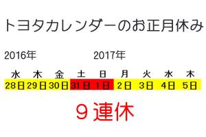 トヨタカレンダーのお正月休み