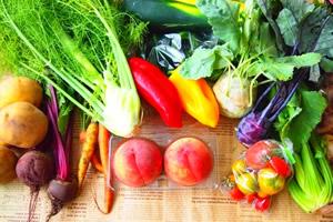 1日の目標摂取量は、野菜が350g、果物が200g
