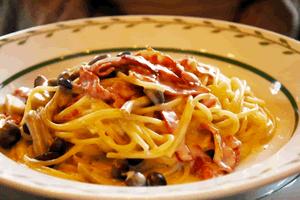 ベーコン、キノコのスパゲティ