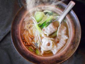 水餃子と青梗菜スープ