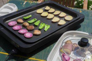 ホットプレートの野菜焼き