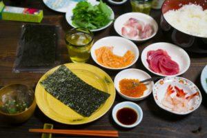 手巻き寿司の具として刺身