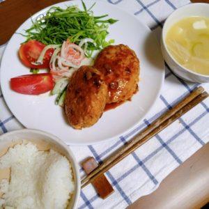 ワンプレートの鶏つくねハンバーグ