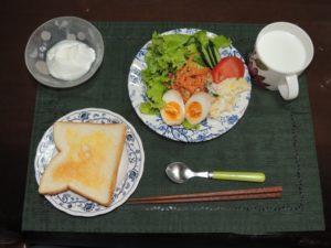 煮卵&半熟卵(味玉)と朝食のサラダの付け合わせ