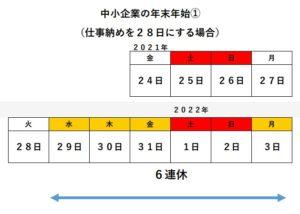 2022年、会社の正月休み(中小・零細企業:6連休型)
